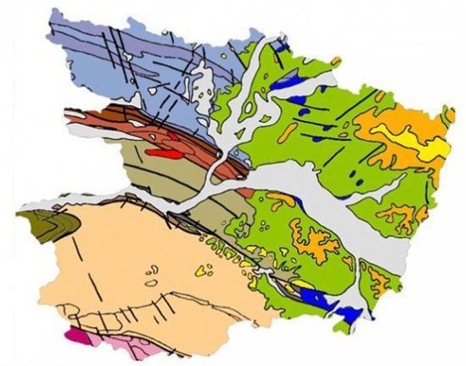 (Carte géologique simplifiée du Maine-et-Loire, réalisée par Fabrice Redois - Maître de conférence - Université d'Angers)