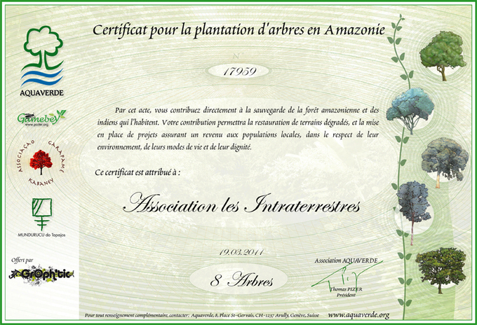 Voici notre certificat dont nous sommes si fiers !