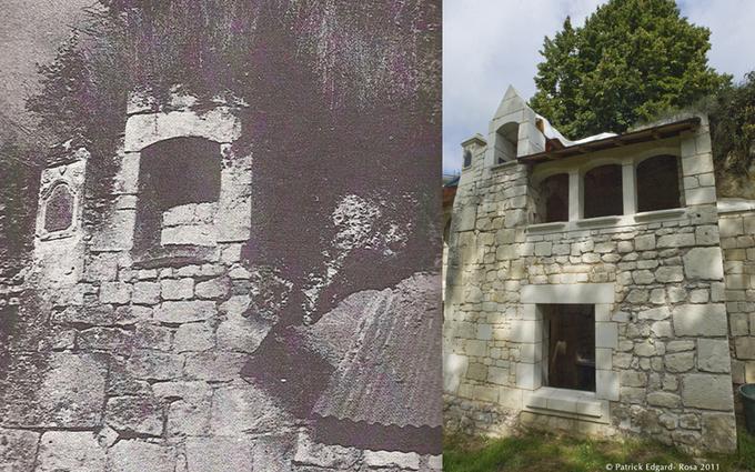 Avant et après, façade du logis seigneurial de Saint Pierre en Vaux