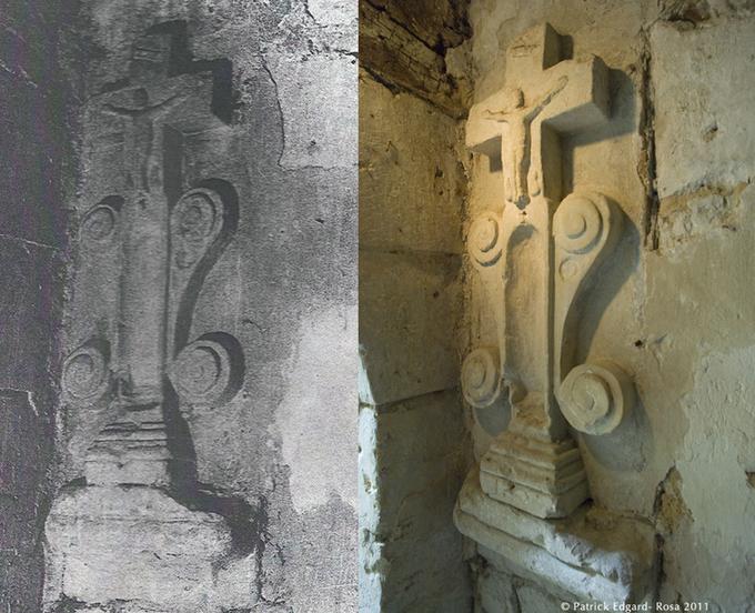 avant et après, le crucifix sculpté dans la maison