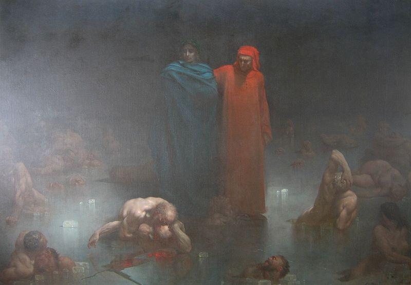 Gustave Doré, Dante et Virgile dans le neuvième cercle de l'enfer, actuellement en exposition au Musée d'Orsay ( exposition  Gustave Doré)