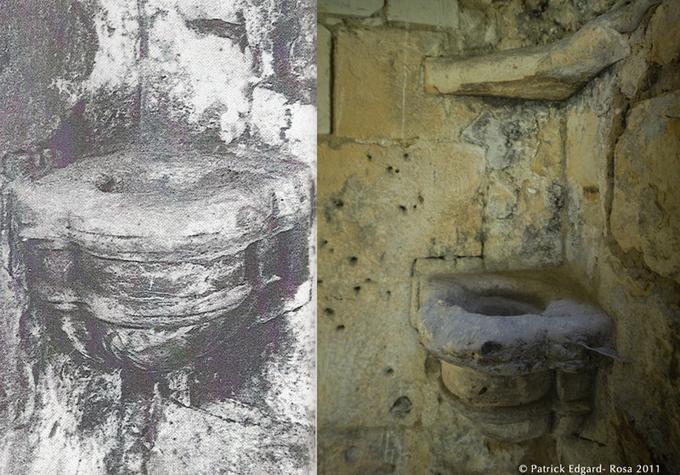 Avant et après, réchaud à charbon de bois sculpté dans l'encoignure de la cheminée